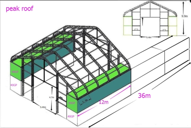 Hall 15 m bred x 36 m lang (på bestilling)